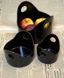 keramik skål hantverk svart glasyr stengods